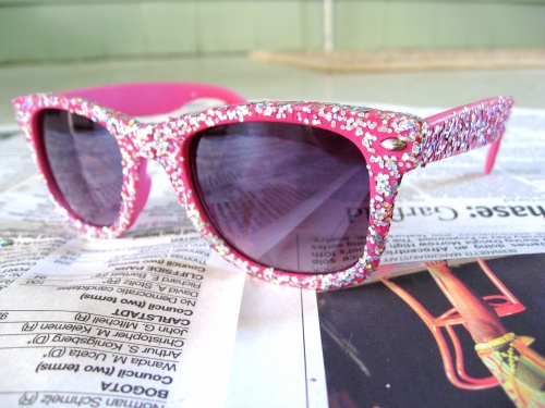 sparkly pink ray ban sunglasses