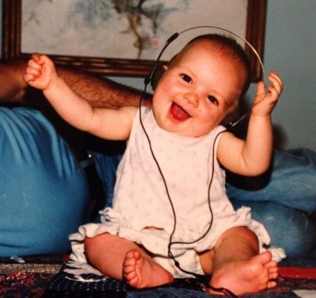 My sister rockin' out to being an only child 24ish years ago
