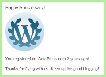 The Cheerful Times' 2nd anniversary WordPress notification