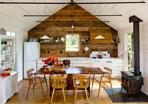 Wooden kitchen in a tiny house