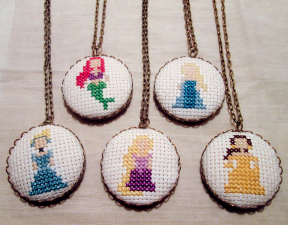 Disney Princess cross stitch necklaces - Etsy product