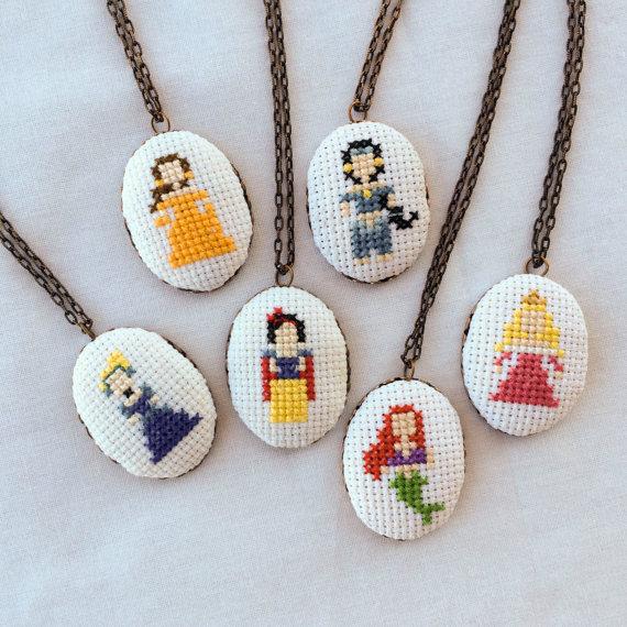 Disney Princess cross stitch necklace - Etsy product