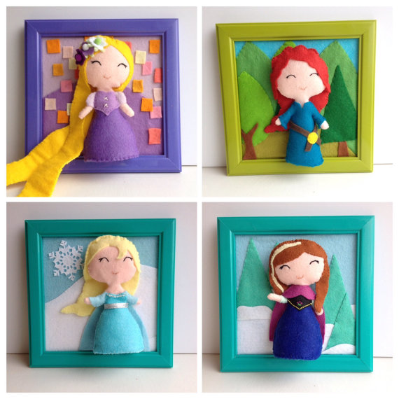Disney princesses framed felt artwork - Etsy product