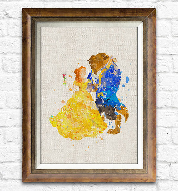 Beauty and the Beast art print - Etsy product