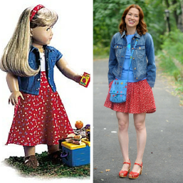 "Unbreakable Kimmy Schmidt fashion looks like the American Girl of Today 1998 ""Play Outfit"" - Kimmy Kisses a Boy!"