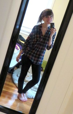 Stitch Fix plaid shirt and skinny jeans